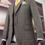 Gold Prince of Wales Overcheck Tweed Suit