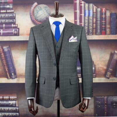 Pebble Grey Windowpane Worsted Wool Suit