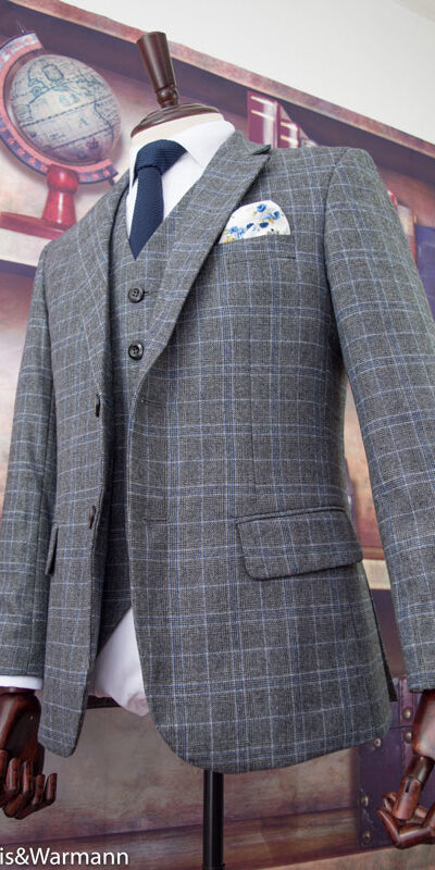 Summer Grey Prince of Wales Overcheck Tweed Suit