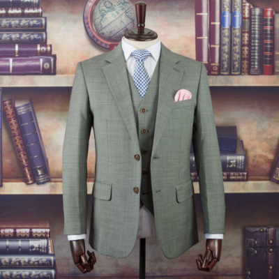 Buckingham Grey Houndstooth Worsted Wool Suit