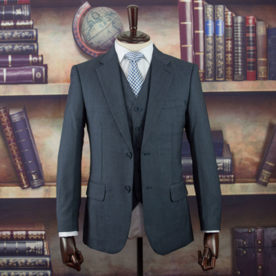 Danbury Grey Birdseye Worsted Wool Suit