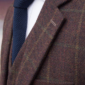 Duke of Essex Burgundy Windowpane Tweed Suit