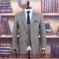 DX9 Grey Houndstooth Check Tweed Suit