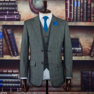 Prince of Wales Grey Worsted Wool Suit