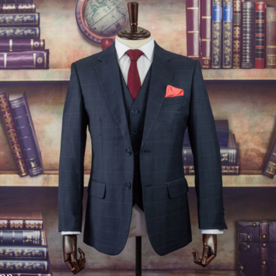 Shrewsbury Charcoal Windowpane Worsted Wool Suit