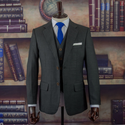Torrington Charcoal Birdseye Worsted Wool Suit
