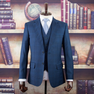 Navy Windowpane Worsted Wool Suit