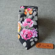 Navy Rose Petal Floral Cotton Tie