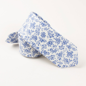 Sicilian Blue Floral Cotton Tie