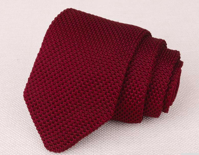Standard Cut Burgundy Luxury Knitted Tie
