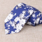Navy White Rose Floral Cotton Tie