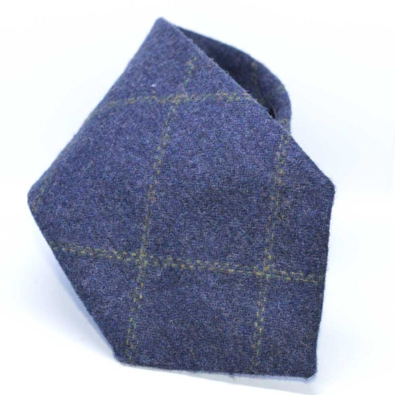 Dark Navy Windowpane Tweed Tie