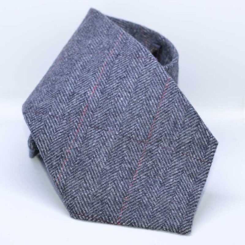 British Classic Grey Herringbone Tweed Tie