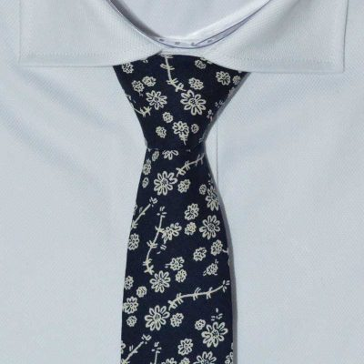 Navy Tuscany Floral Cotton Printed Tie