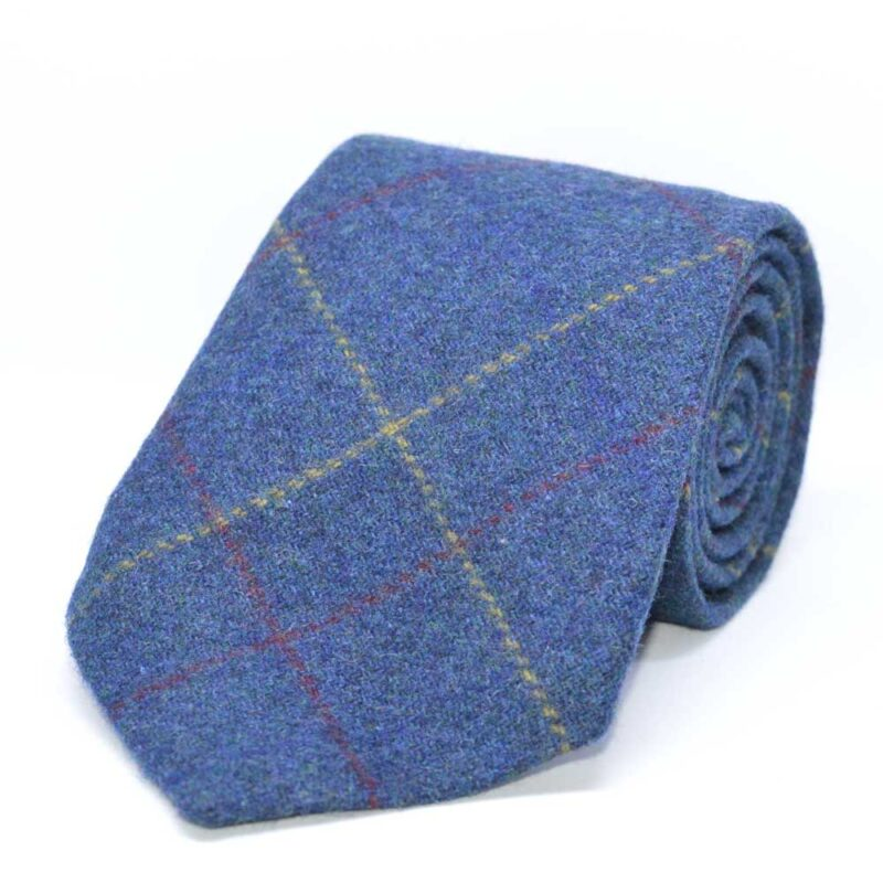 Gent's Blue Overcheck Tweed Tie