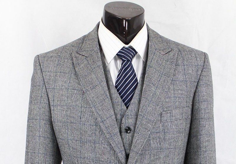 3 Piece Grey Prince of Wales Check  Tweed Suit