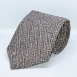 Brown Classic Herringbone Tweed Tie