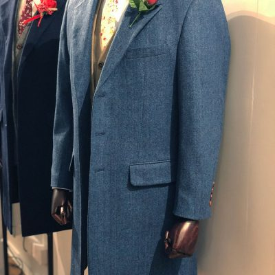 Blue Classic Herringbone Tweed Overcoat