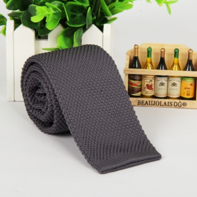 Dark Grey Italian Cut Luxury Slim Knitted Tie