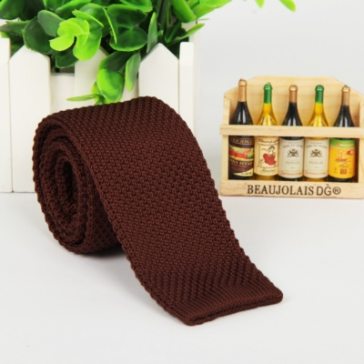 Brown Italian Cut Luxury Slim Knitted Tie