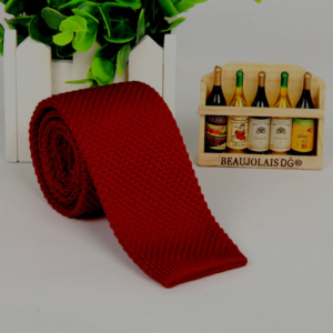 Dark Red Italian Cut Luxury Slim Knitted Tie