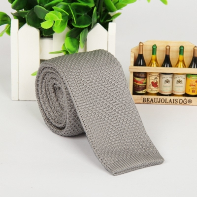 Light Grey Italian Cut Luxury Slim Knitted Tie