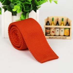 Orange Italian Cut Luxury Slim Knitted Tie