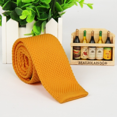 Yellow Italian Cut Luxury Slim Knitted Tie