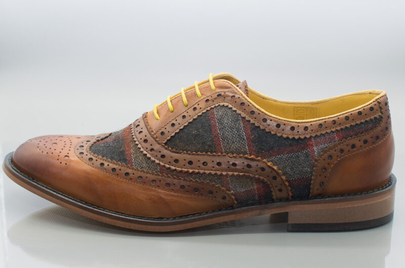 Genuine Leather And Tweed Contrast Brogue