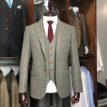 Vintage Grey Herringbone Plaid Tweed Suit