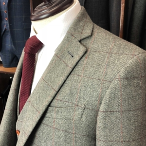 Warm Grey Herringbone Plaid Tweed Suit