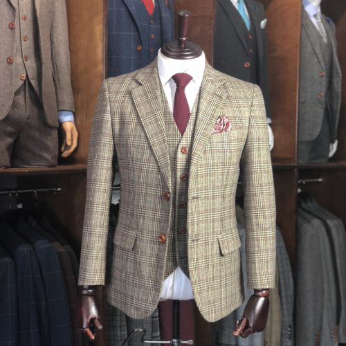 Traditional Brown Prince of Wales Check Tweed Suit | 3 Piece