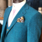 Turquoise Blue Barleycorn Tweed Suit