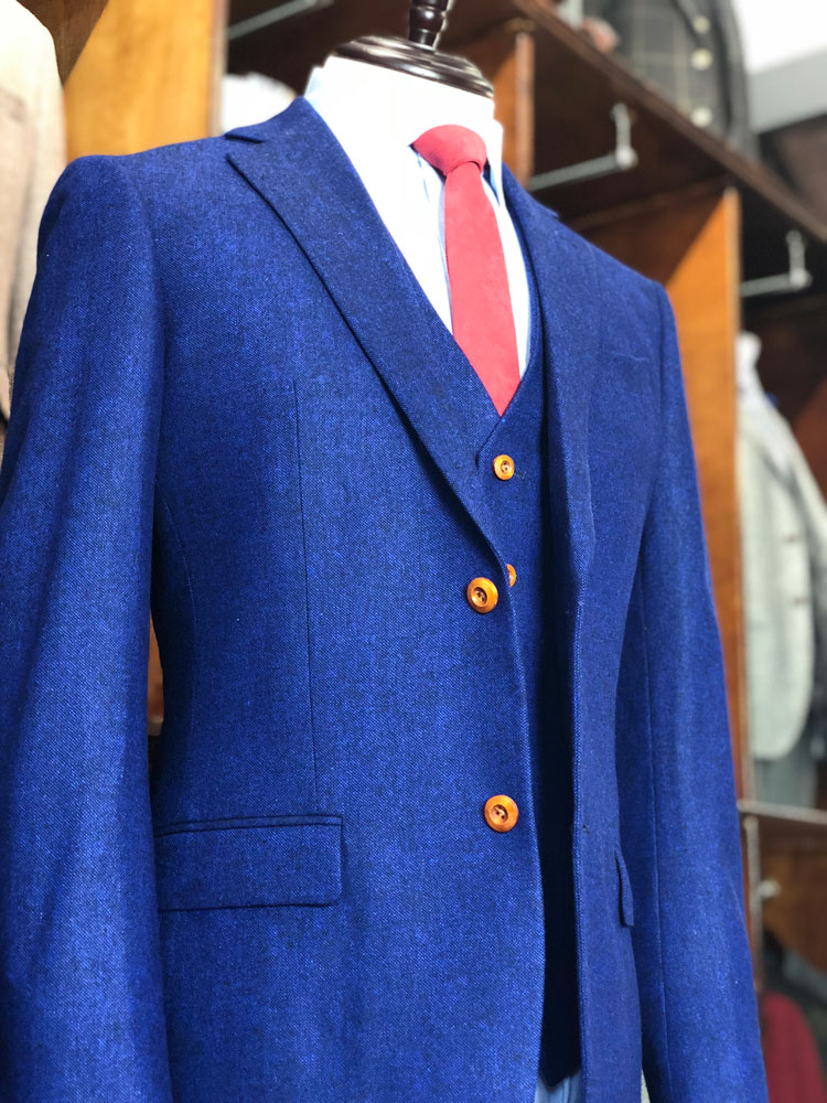 Midnight Blue Barleycorn Tweed Suit