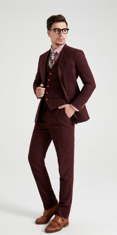 Mauve Derry Speckled Donegal Tweed Suit