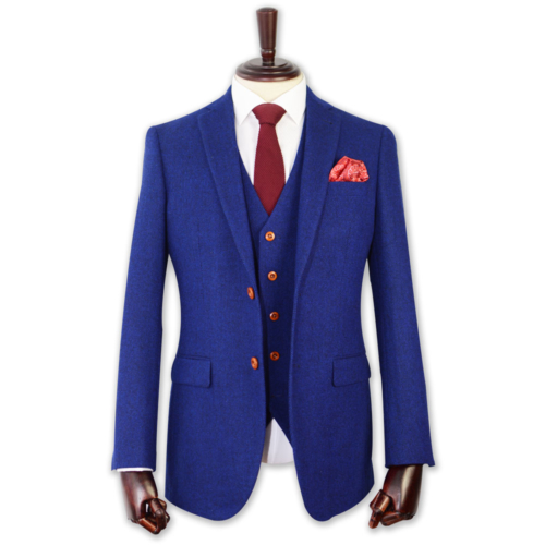 Royal Blue Irish Donegal Tweed Suit