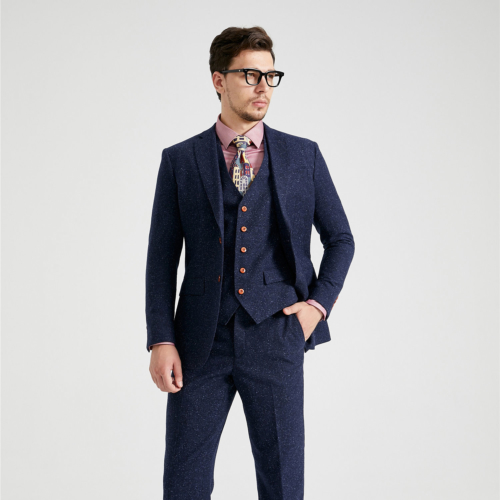 Classic Navy Speckled Donegal Tweed Suit