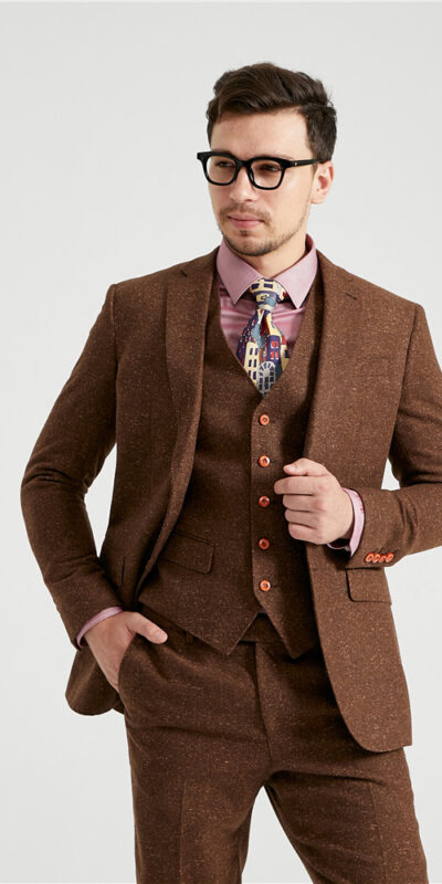 Brown Speckled Donegal Tweed Suit