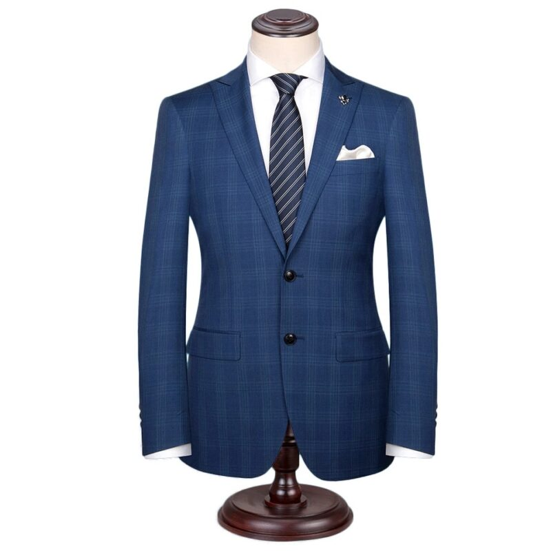 Parliament Blue Check Italian Wool Suit