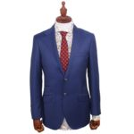 Dark Blue Striped Italian Wool Suit