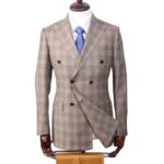 Light Brown Checked Double Breasted Italian Wool Suit