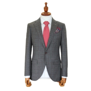 Grey Checked Italian Wool Suit