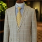 Cream Windowpane Mohair Suit