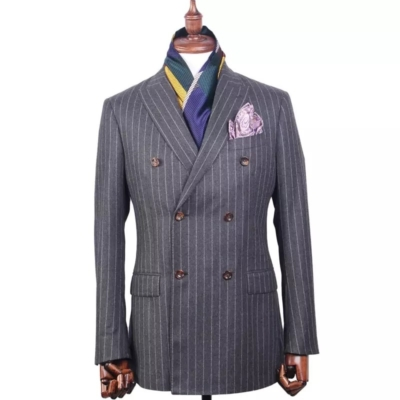 Royal Grey Pinstripe Double Breasted Suit