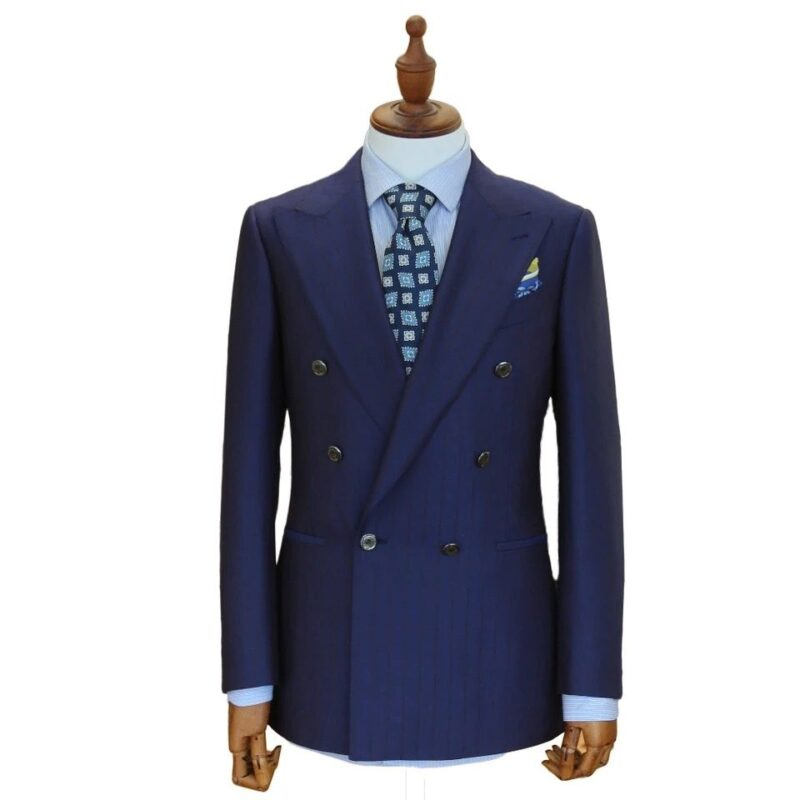 Ascot Navy Pinstripe Double Breasted Suit