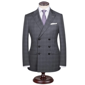 Evening Grey Checked Double Breasted Suit