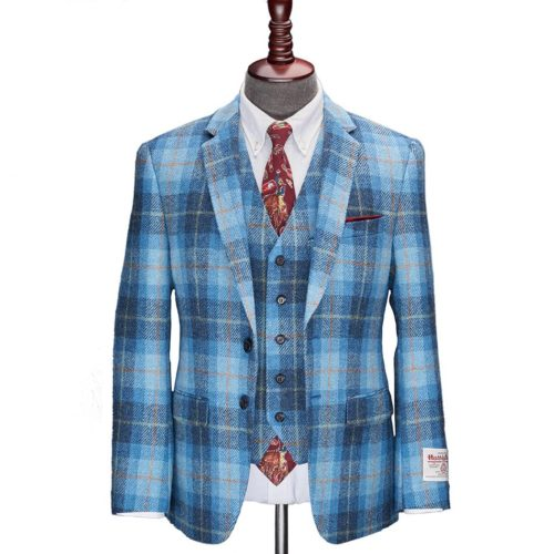 Blue Tartan Check Harris Tweed Suit