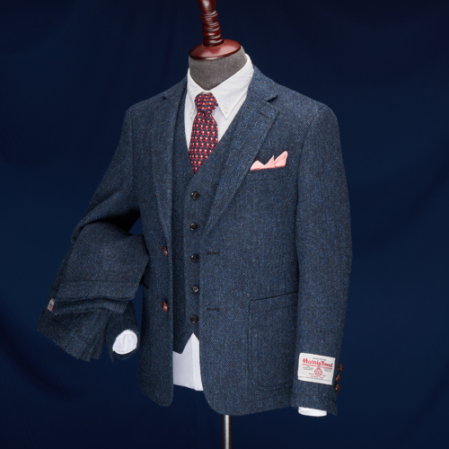 Richmond Navy Herringbone Harris Tweed Suit
