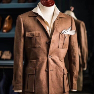 Brown Linen Lushington Shooting Suit