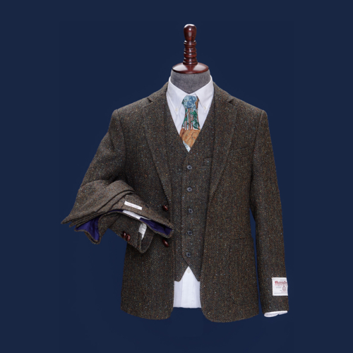 Rugby Brown Herringbone Harris Tweed